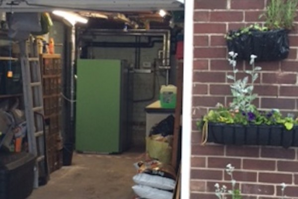 A K26 biomass boiler fitted easily into this domestic garage.